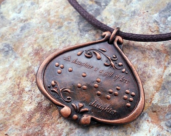 A Daughter is a Gift of Love Braille pendant Jewelry in Braille
