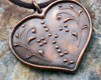 Love and God Heart Shaped Pendant in Braille  Jewelry in Braille