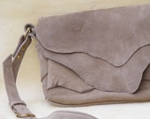 elephant look gray cowhide natural edge flap messenger type batik lined  one of a kind bag or purse