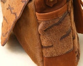 Soft deerskin and acid washed designer hair on cowhide brown batik lined messenger bag purse