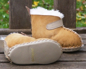 baby and toddler custom sheepskin  and leather warm googy slippers