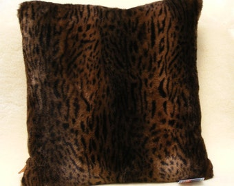Meow wild cat soft  faux fur black and brown pillow