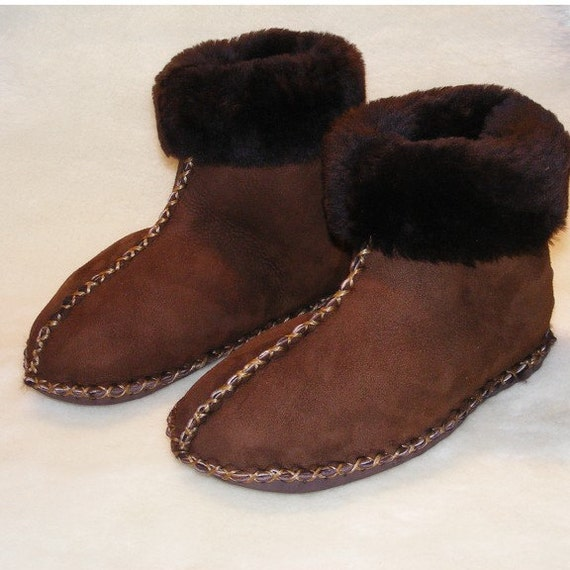 tall custom ankle warming sheepskin and leather slippers for men