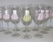 Bridal Gown and Bridesmaid Dresses Hand Painted on Set of 8 Wine Glasses - Great for Wedding Party