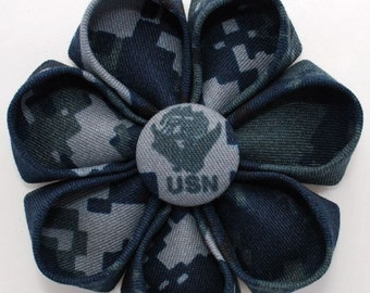 USN Navy Digital Camo Fabric Blossom with Emblem