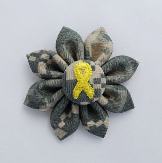 US Army ACU Digital Camo Small Fabric Sunflower with Yellow Ribbon