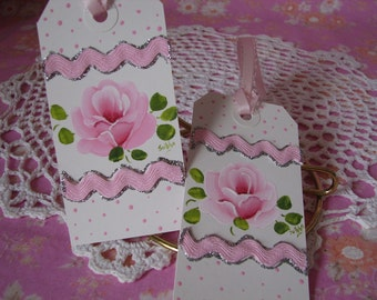 Gift Hang Tags Set of 2 Hand Painted Chic Pink Rose , Glitter, Rick Rack