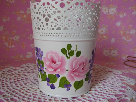 Decorative Pot Metal Container Hand Painted Pink Roses, Purple flowers Shabby Cottage