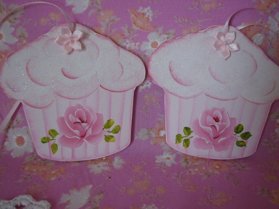 Set of 2 Hand Painted Cupcake Ornaments Shabby chic Pink Rose, Glitter
