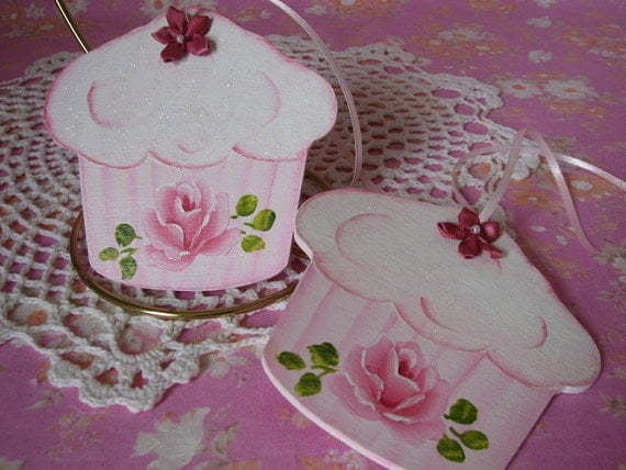 Cupcake Ornaments Hand Painted Shabby chic Pink Rose, Glitter Set of 2 CIJ SALE