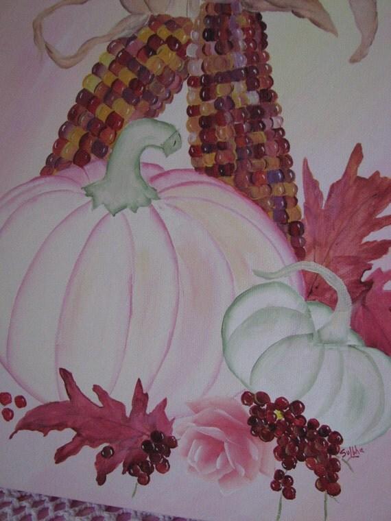 Autumn Canvas Hand Painted Pink Roses, Corn, Pumpkins Art Fall Painting Wall Decor