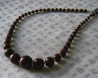 Vintage Cocoa Brown and White Pottery Necklace