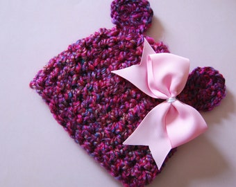 Newborn Homespun Pink and Purple Bear hat with removable Bow.... Photography prop