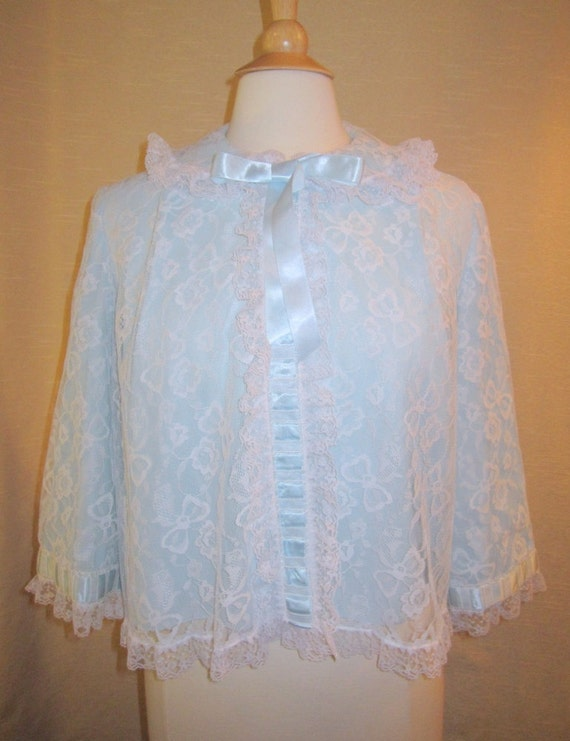 Light Blue Bed Jacket // Lace Chiffon and Satin Bed Jacket //1960s Odette Barsa // Courtesy Domestic Shipping