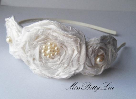 Bridal White Rosette Headband