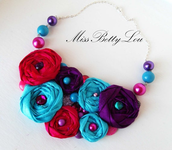 Berry Beautiful Pink Purple and Blue Statement Necklace  -DISCOUNT-