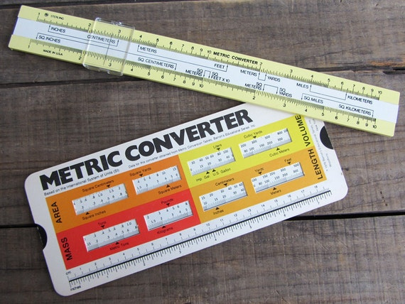 Metric Conversion Set from 1970s, slide ruler & paper conversion chart
