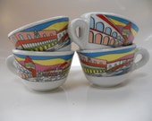 4 italian double espresso cups venice graphic