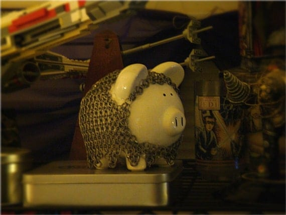 Chainmaille Piggy Bank Knight