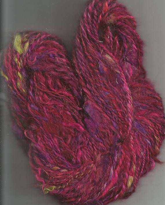 Fuchsia Mohair Handspun, Hand Dyed Yarn to Knit, Crochet, Weave OOAK