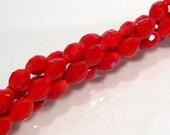 24 Beads...Red Velvet Faceted Glass Rice Beads...6x4mm