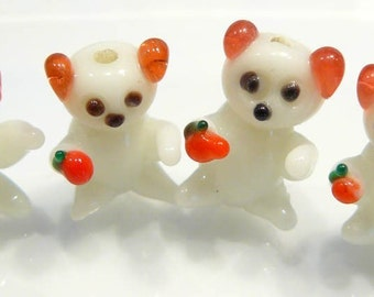 4 Beads...White Teddy Bear LAMPWORK BEADS..20x14mm...BB