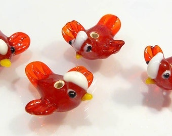 4 BEADS...Red Bird Lampwork BEADs...22x20mm....BB