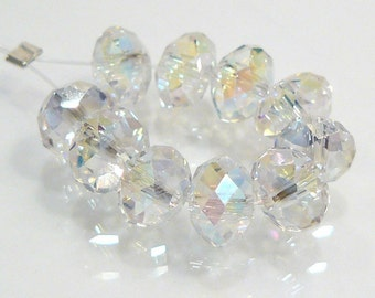 12 BEADS...Rainbow Clear Quartz Glass Faceted Rondelle BEADS...6x4mm...BB
