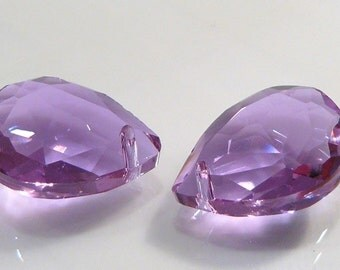 2 BEADS....Amethyst Quartz Glass Faceted Briolette BEADS....18x13mm