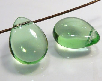 2 Beads....Peridot Smooth Puffed Czech Glass  Briolette Beads....16x12mm...BB