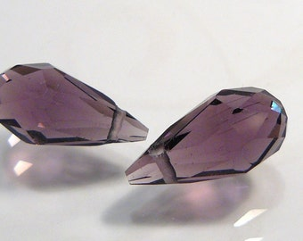 2 BEADS....Amethyst  Quartz Glass Faceted Teardrop Briolette Beads.....14x7mm...BB