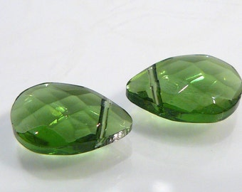 2 BEADS....Green Quartz Glass Faceted Briolette Beads...15x10mm...BB