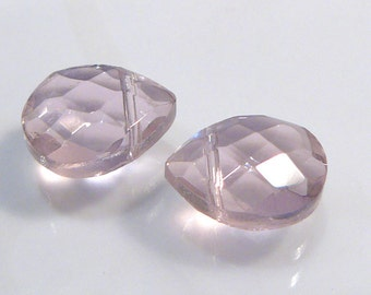 2 Beads....Pink Blush Quartz Glass Faceted Briolette Beads...15x12mm
