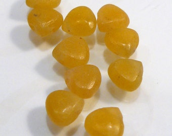 10 BEADS..Honey  Yellow Jade Smooth Teardrop Briolette Gemstone BEADS....6x6mm....BB