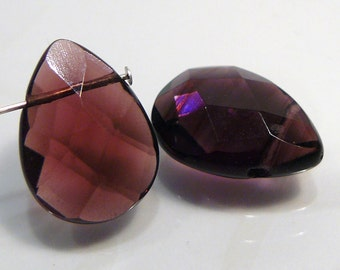 2 Beads....Plum Purple  Quartz Glass Faceted Briolette Beads....18x13mm...BB