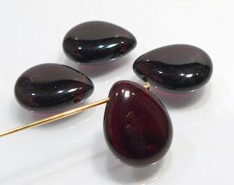 Dark Red Garnet Smooth Puffed Czech Glass Briolette Beads....4 Beads...16x12mm