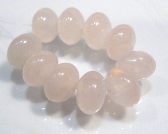 Rose Quartz Gemstone Smooth  Puffed Rondelle Beads...8x5mm...8 Beads