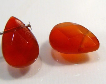 2 Beads..Red Agate Faceted Briolette Gemstone Beads..12x8mm...BB