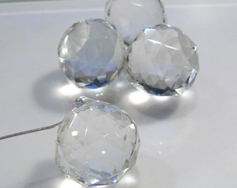 4  BEADs....Clear Quartz Glass Faceted Teardrop Briolette Bead...22x20mm