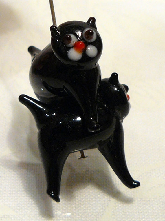 2 BEADS...Halloween Black Cat Lampwork BEADS Arched Back