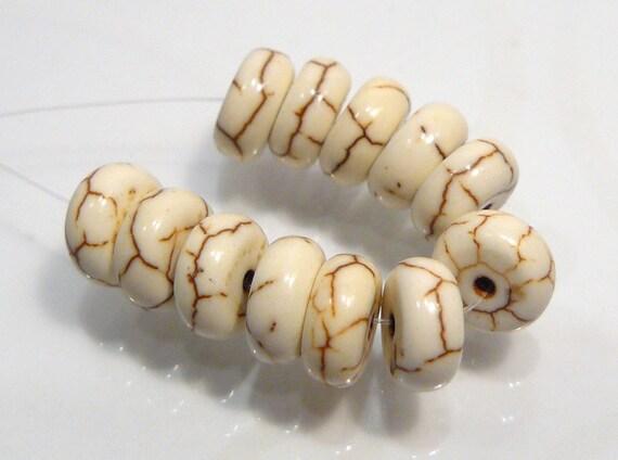 12 BEADS....White Howlite Turquoise Puffed Rondelle Gemstone Beads...8x5mm...BB
