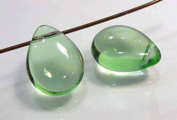 2 Beads....Peridot Smooth Puffed Quartz Glass Briolette Beads....16x12mm...BB