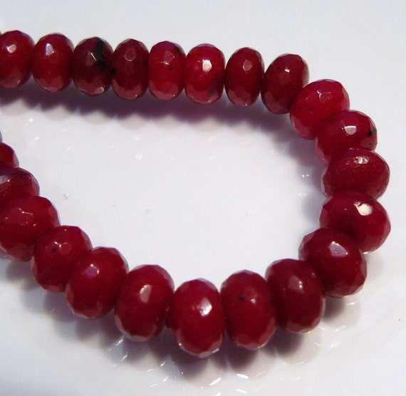 Red Ruby Beads: 6 Beads...Red Ruby Jade Faceted Rondelle Gemstone