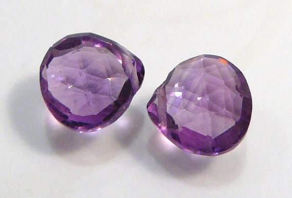 2 Beads....Amethyst Faceted Gemstone Briolette Beads....8x8mm..2.90ctw..BB