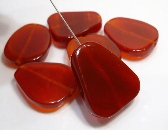 6  Focal Beads...Carnelian Flat Gemstone Beads....28mm.....BB