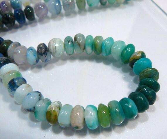 10 BEADS....Natural Blue Peruvian Opal Gemstone Rondelle Beads...7-8mm...BB