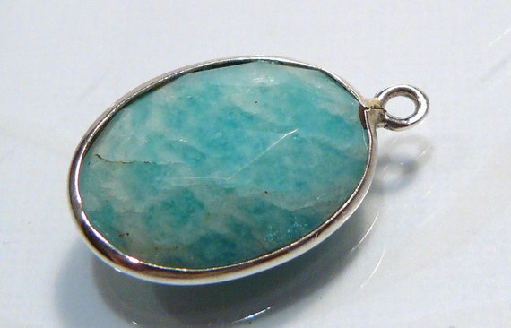 1 Bead...Turquoise Gemstone Sterling Silver Bezel Set Pendant Charm Station 22x14mm...BB
