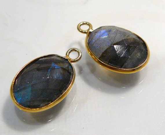 2 Bead....Blue Flash Labradorite  Gold Vermeil  Bezel Set Earring Charms 19x11mm...BB