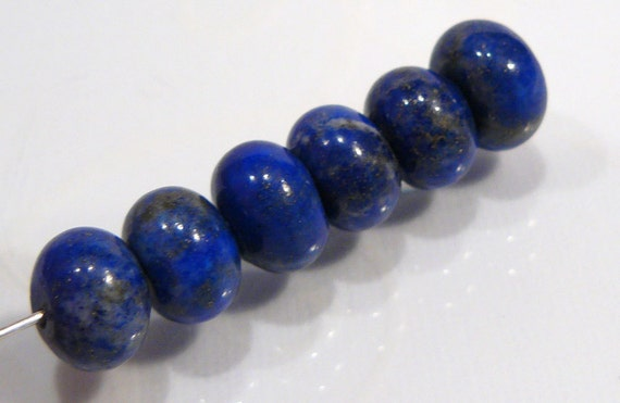 8 Beads.....Blue Lapis Smooth Rondelle Gemstone Beads....10x7mm...BB