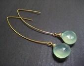 Light Blue Chalcedony Briolette on Long Hook Earwire Earrings